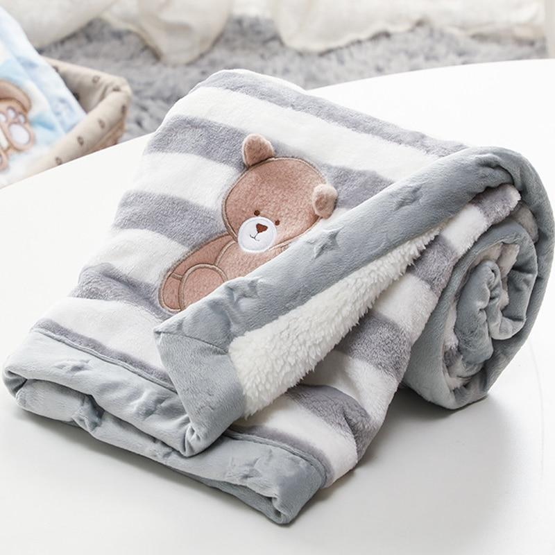 Cartoon Baby Decke Verdicken Doppel Schicht Flanell Warme Swaddle Umschlag Weiche Kinderwagen Wrap Neugeborenen Kinder Bettwäsche Bebe Decke