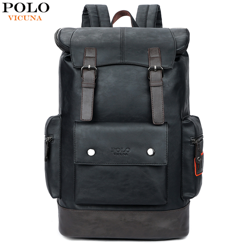 VICUNA POLO Simple Patchwork Large Capacity Mens Leather Backpack For Travel Casual mochila Men Daypacks Leather Travle Backpack image