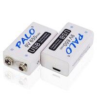 2-20 piezas, 9 V, 6F22, batería recargable por USB, 9 voltios, 650mAh, litio, li-ion, Carga rápida inteligente de iones de litio