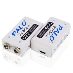2-20pcs 9V 6F22 USB Rechargeable Battery 9 volt 650mAh lithium li-ion li ion liion smart fast charging batteries