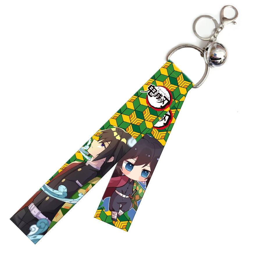 Купить с кэшбэком Japan Anime Demon Slayer Key Chain Cosplay Kamado Tanjirou Backpack Bag Ribbon Pendant Fancy Gift