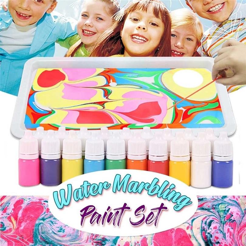 Kids Water-based Art Paint Set Marbling Painting Kit DIY Painting On Water Creative Art Set Of 6 Colors Painting Tools #3N16