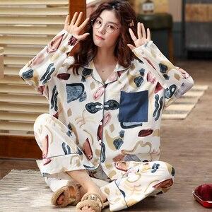 Image 2 - BZEL Neue Mode Nachtwäsche frauen Baumwolle Pyjamas Mit Taschen Qualität Pijama Lose Pyjama Femme Hause Tragen Nachtwäsche M XXXL