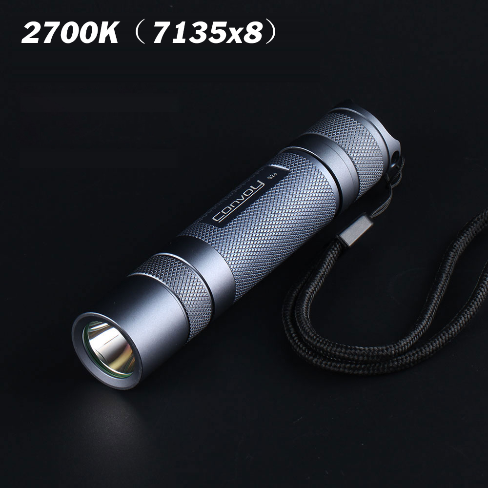Gray Convoy S2+ Led Flashlight DTP Copper Plate, Ar-coated Glass Lens Flashlight 7135 Biscotti Firmware Led Electric Torch Light