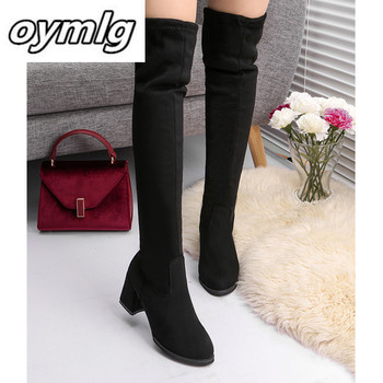 Women Casual Over the Knee boots shoes Winter women Female Round Toe Platform high heels pumps Warm Snow Boots shoes mujer W90 haraval handmade winter woman long boots luxury flock round toe soft heel shoes elegant casual warm retro buckle solid boots 289
