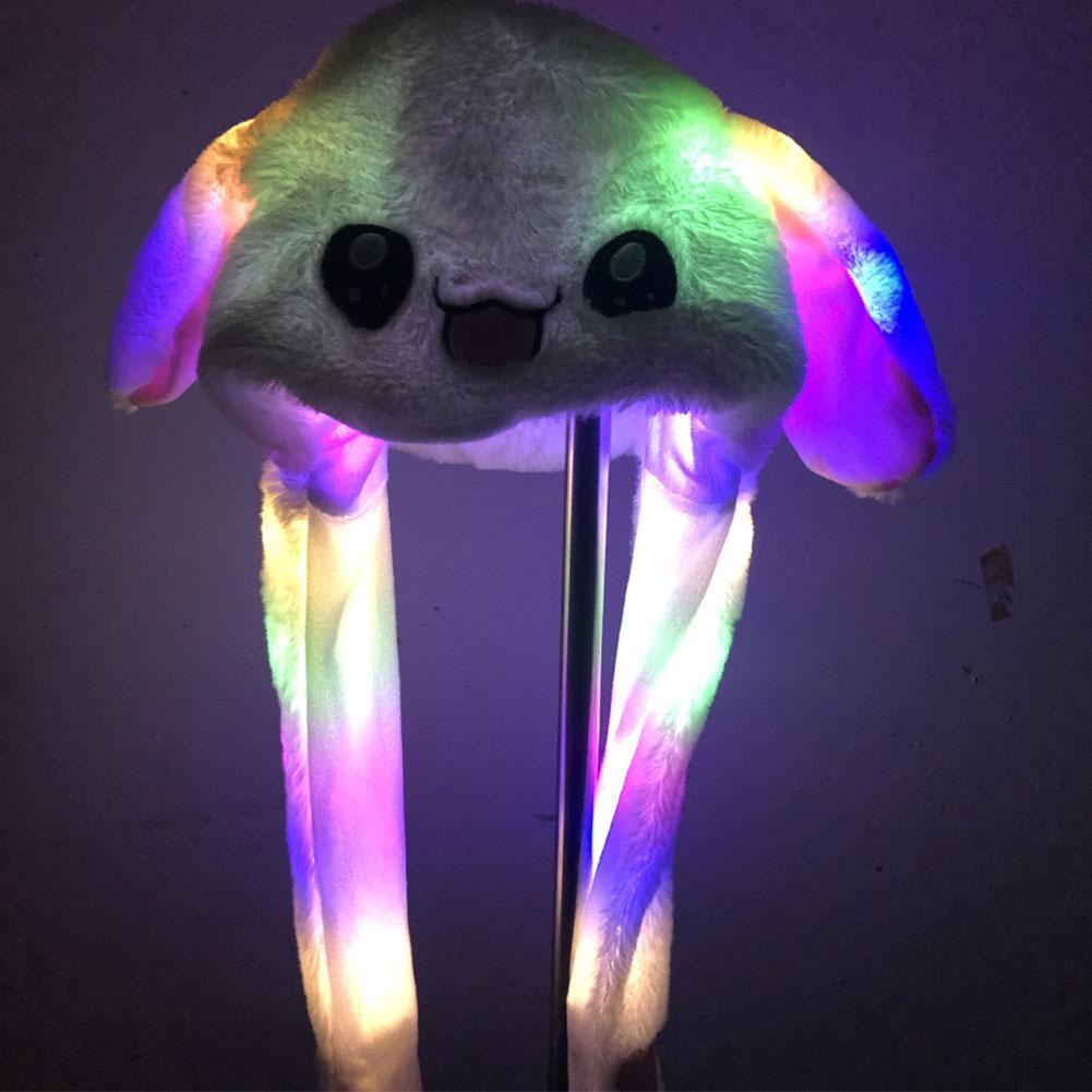 Lovely Cartoon Rabbit Women LED Light Ears Flapping Plush Winter Warm Hat Cap Gift For Children