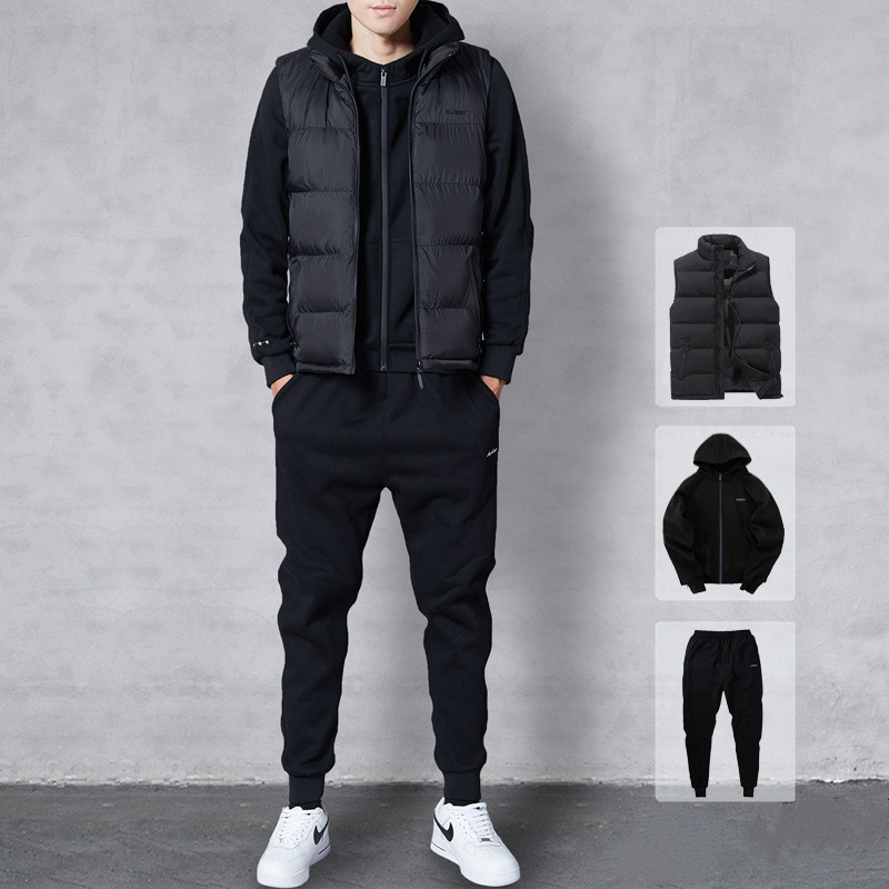 Winter  Men'S Sportswear Suit Hooded Thick Men Running Fitness Sportswear Three-Piece Casual Large Size Mens Casual Wear Homme