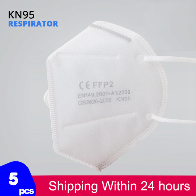 5 pcs/bag KN95 Face Mask Dust Masks KN95 Mask ffp2 Respirator 5-Layer Protective Filter Breathable Mouth mask Cover Reusable