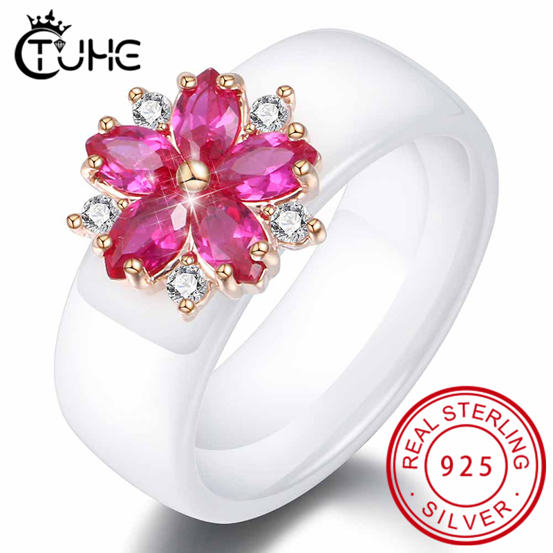 Shiny Big Red Stone Women Ring Red Crystal Flower Statement Rings For Women Healthy Ceramic Rings Jewelry Gift