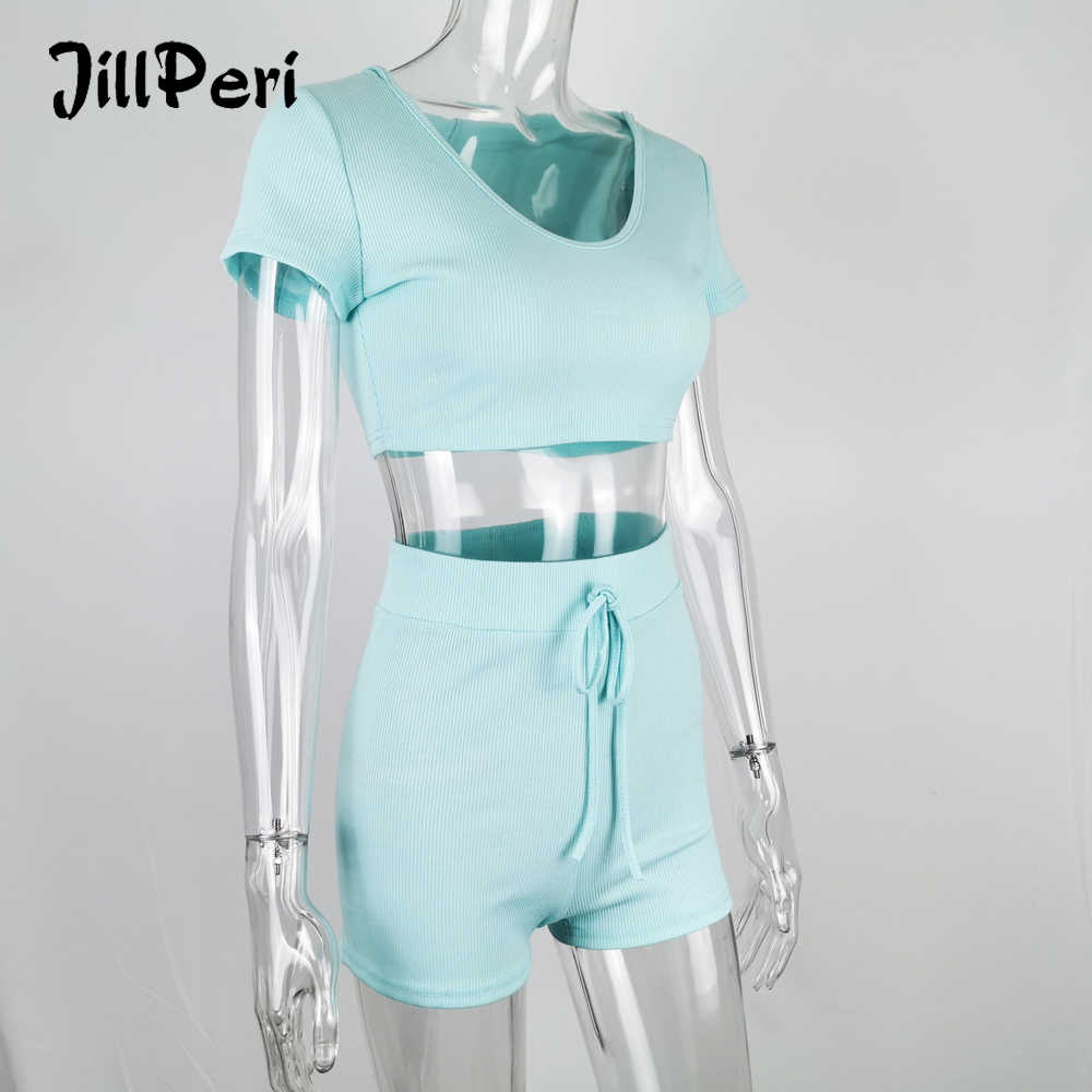 JillPeri Women Short Sleeve Crop Top with Hat & Shorts 2 Piece Set Sexy Stay Home Wear Baby Blue 2 Piece Short Loungewear