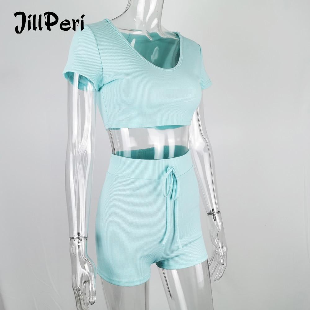 JillPeri Women Short Sleeve Crop Top With Hat & Shorts 2 Piece Set Sexy Stay Home Wear Baby Blue 2 Piece Short Loungewear