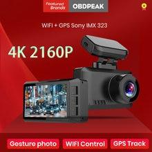 Cámara de salpicadero 4K con GPS para coche, grabador de vídeo DVR Ultra HD 3840x2160P con foto gestual, WiFi, aparcamiento 24H, cámara trasera