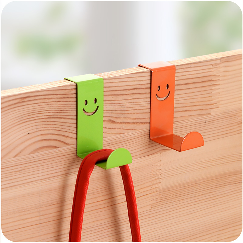 2pcs Stainless Steel Door Hanger Rack Kitchen Cabinet Board Hanging Hooks Behind Door Clothes Bag Holder Hooks Random Color