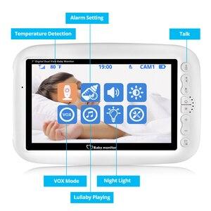Image 2 - كاميرا FUERS 7 بوصة 720P عالية الدقة لاسلكية لمراقبة الأطفال والرؤية الليلية شاشة تهويدة لاسلكية مزدوجة شاشة LCD مراقبة مربية
