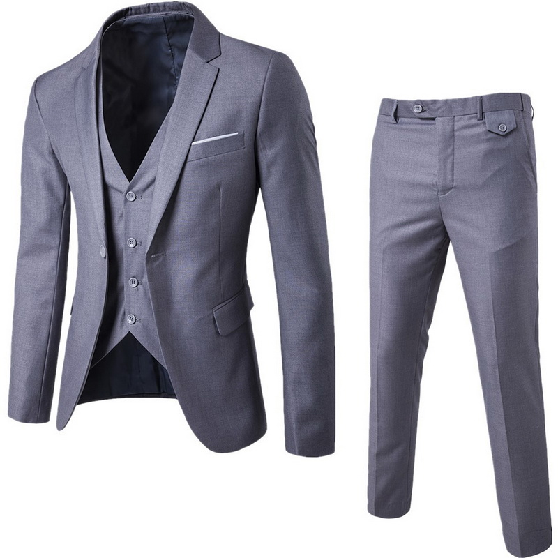 3 Pieces Men Luxury Blazer Set 2019 Men Slim Fit Business Formal Dress Waistcoat Suit Exquisite Wedding Office Pants Blazer Suit
