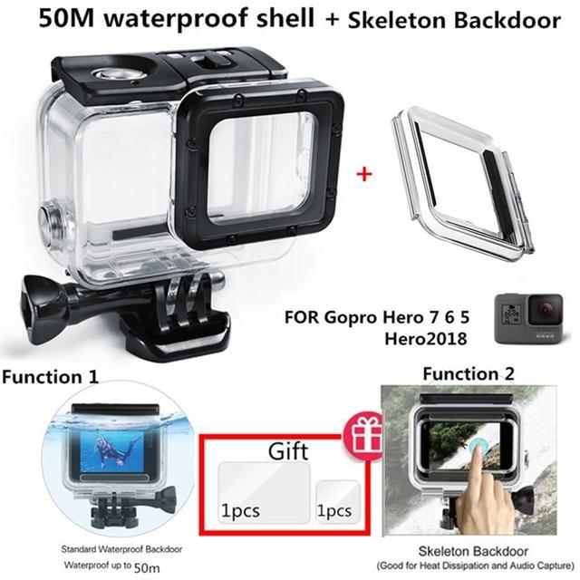 Suptig 50M Underwater Diving Waterproof Housing Case +Open back cover for GoPro Hero2018 Hero 7 Black for Go Pro HERO6 5 Camera