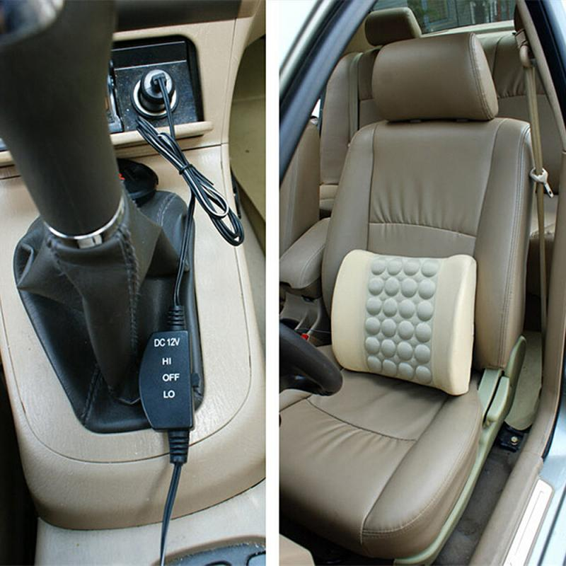 Car Electric Massage Back Cushion Soft Relief Vertebral Pain Lumbar Cushion Waist Support Massage Seat Pillow Home Office Chair