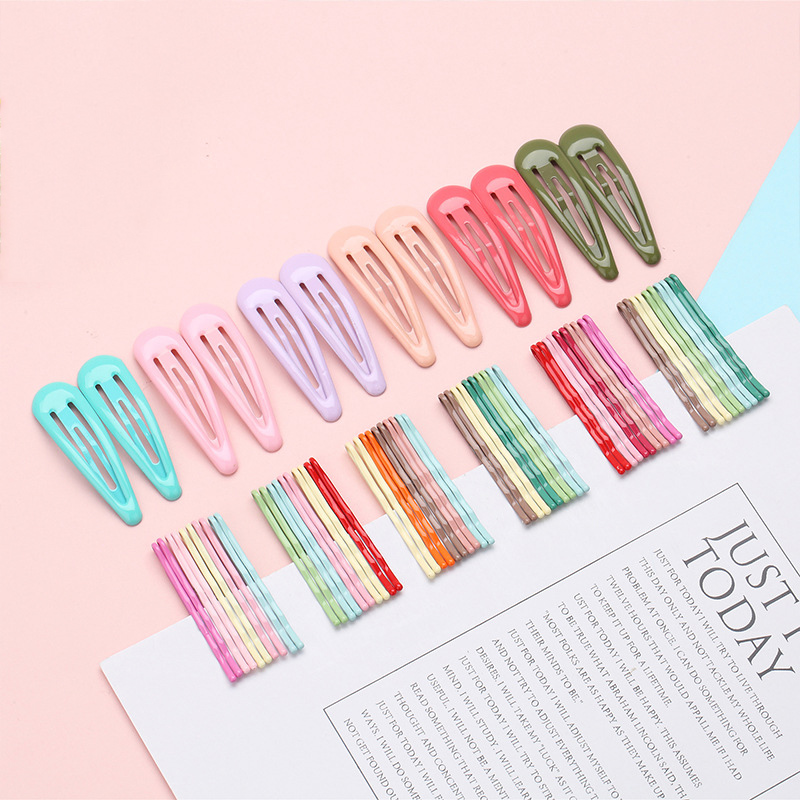 Hot New 12pcs/set Simple Candy Color Hair Clips For Women Girls BB Hairpins Color Metal Barrettes Girls Hair Styling Accessories