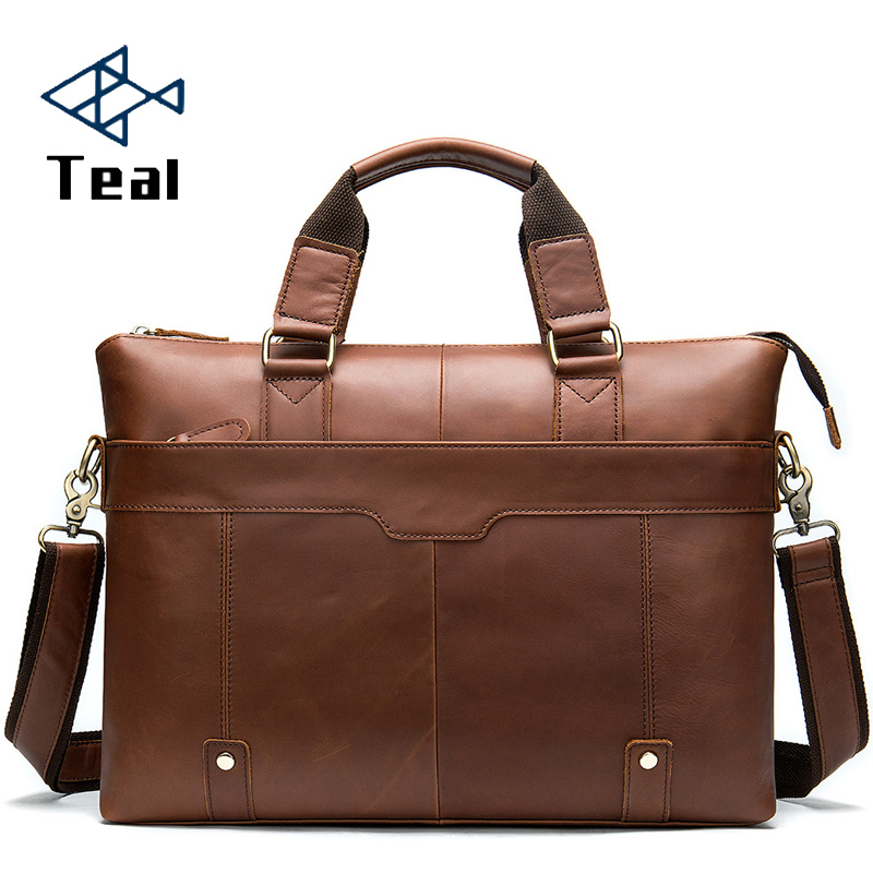 Men's Briefcase Genuine Leather Laptop Bag Men Genuine Leather Office Bag For Men's Business 14inch Computer Bags
