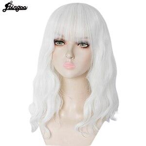 Image 3 - Ebingoo Hohe Temperatur Faser Kurzen Körper Welle Bob Rosa Schwarz Weiß Blonde Synthetische Perücken Mit Pony für Frauen