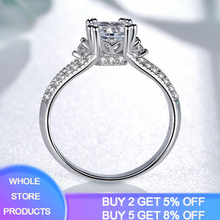 YANHUI Wedding Band 925 Sterling Silver Rings for Women Dazzling Flower Ring 1 Carat Zircon Bijoux For Women Ladies Jewelry Gift