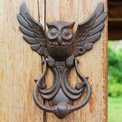 Jd estilo americano artesanato de ferro coruja vintage porta batendo antigo maçaneta da porta decoração da parede do jardim casa