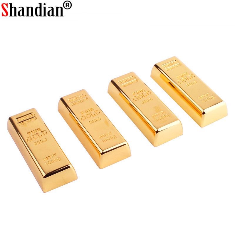 SHANDI Metal Simulation Gold Bars Model USB Flash Drive Pen Drive Golden Memory Card Pendrive 4GB/16GB/32GB/64GB Thumb Drive