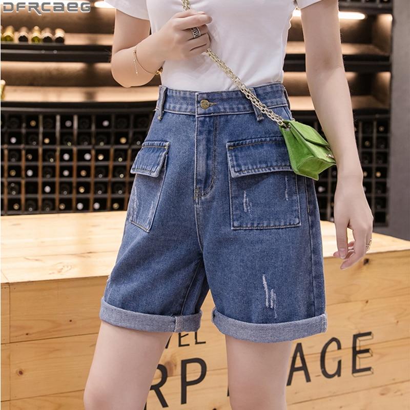 S-5XL Plus Size Oversized Denim Shorts Women Summer Casual Streetwear Jean Short Feminino Scratch Ripped Boyfriend Shorts Jeans