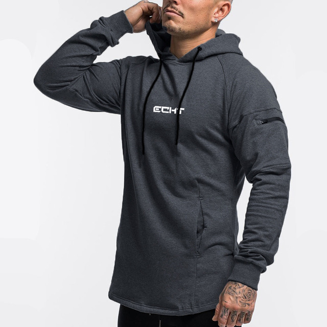 Casual Hoodies Mens Cotton Sweatshirt Gyms Fitness Workout Pullover Autumn New Male Gray Slim Hooded Jacket Tops Brand Clothing