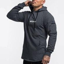 Hoodies casuais dos homens moletom de algodão ginásios fitness workout pullover outono novo masculino cinza magro jaqueta com capuz topos roupas marca