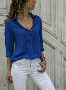 Women White Blouses Basic Selling Button 4