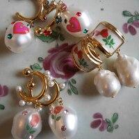 Ins Vintage-pendientes irregulares de Perla Barroca para mujer y niña, aretes de rosa, exquisito Corazón, Pendientes colgantes de perlas, regalo de joyería