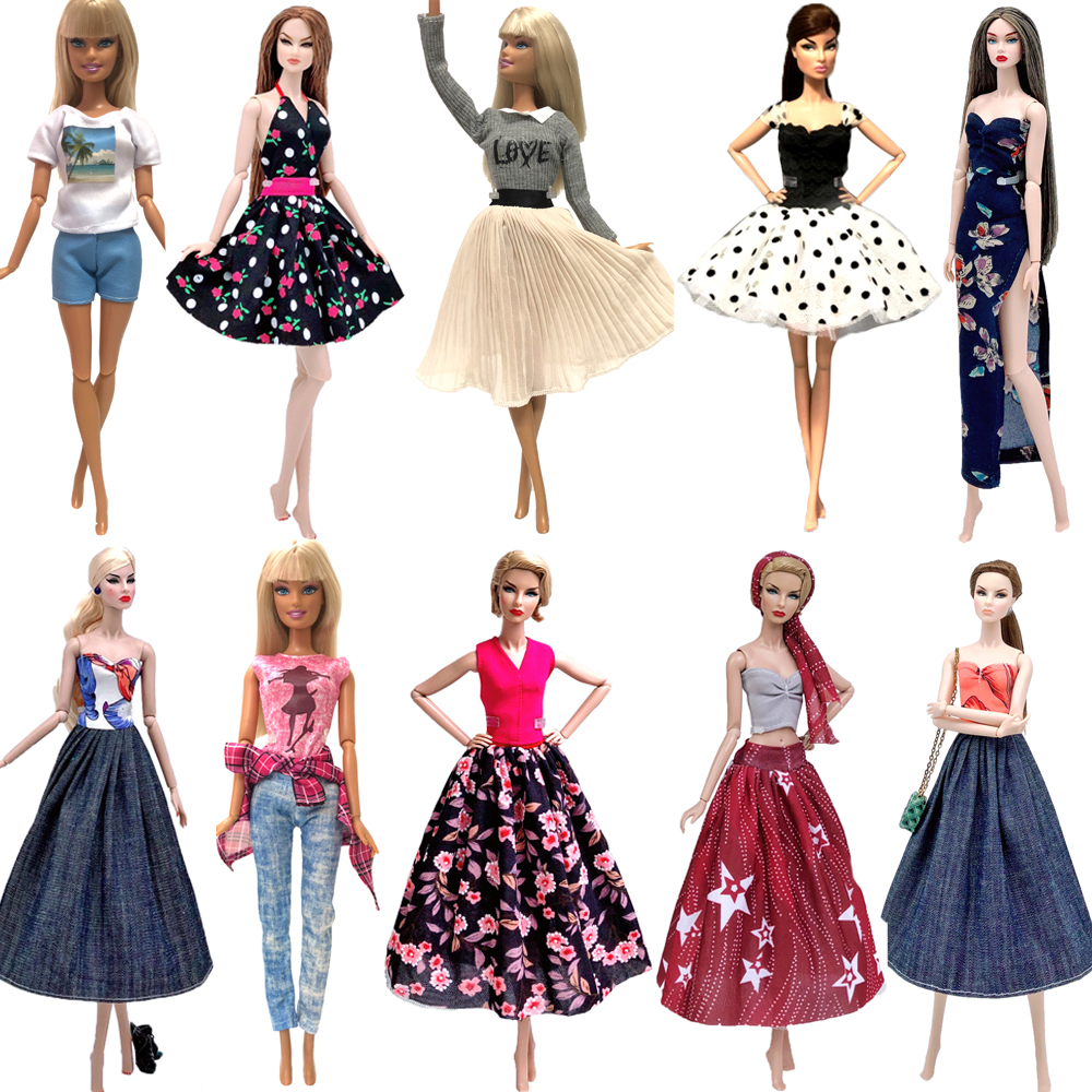 NK 1x Hot Sale Doll Dress Daily Super Model Skirt Fashion Outfit  For Barbie Doll  Accessories Girls Gifts Baby DIY Toys JJ
