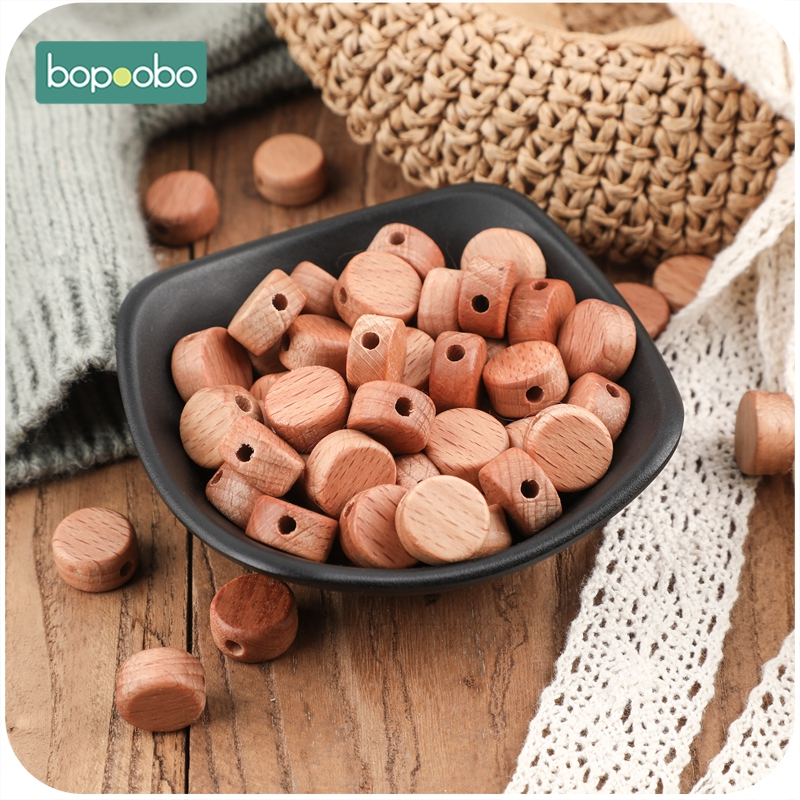 Bopoobo 20PC Baby Teether Wooden Beads Beech Deep Color Round Disc Teething Bead Handmade Baby Teether For Nursing Necklace