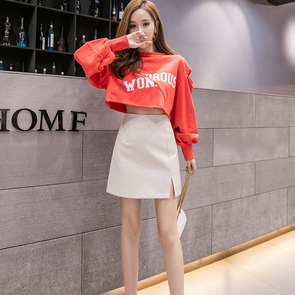 Hem Split Skirt Womens Rear Zipper Solid Slim High Waist Satin Split Mini Skirt Sexy Party Vintage Skirts faldas mujer moda