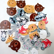 50Pcs Assorted Animals Shape Wooden Buttons For Sewing And Crafts 20mm