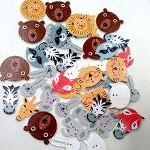 Assortiment de boutons en bois en forme d'animaux, 50 pièces, 20mm, pour la couture et l'artisanat