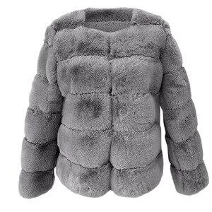 Image 3 - Mode Plus Size Vrouwen Jas Kunstmatige Bont Thermische Vrouwelijke Winter Warm Gewatteerd Jack Dikker Overjas Winddicht Casaco Vrouwelijke