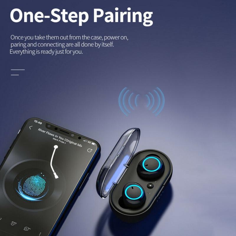 Bluetooth Kopfhörer Y50 TWS Wireless Earbuds Earphone Stereo Sport Headset mit Mikrofon und Charging Box für Smartphones 6