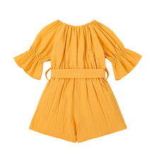 Solid Color Boat Neck Short Sleeve Romper with Waist Belt for Girls, Yellow/Pink/Wine Red,Kids Jumpsuit