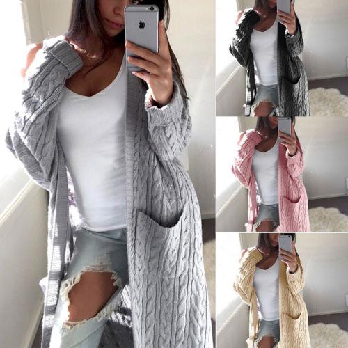 New One Size Women Long Sleeve Strech Cardigan Coat Loose Jacket Outwear Tops Winter Sweater Women Plus Size Long Cardigant