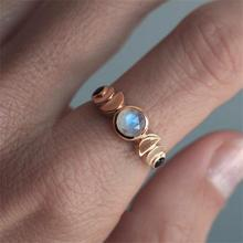 Rose Gold Color Artificial Moonstone Women Ring Fashion Wedding Engagement Rings Jewelry Anillos