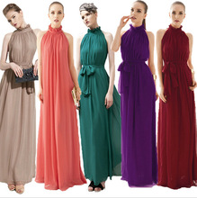 Women Summer Strapless High Low Party Gowns Belt Halter Keyhole Neck Maxi Beach Bohemian Chiffon Elegant Solid Dress Mujer Robes