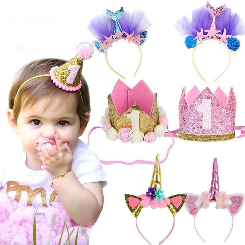 WEIGAO 1pcs 1/2/3 Birthday Party Hats Headband Crown Princess Prince Crown Headdress Baby Shower Kids Birthday Party Decoration