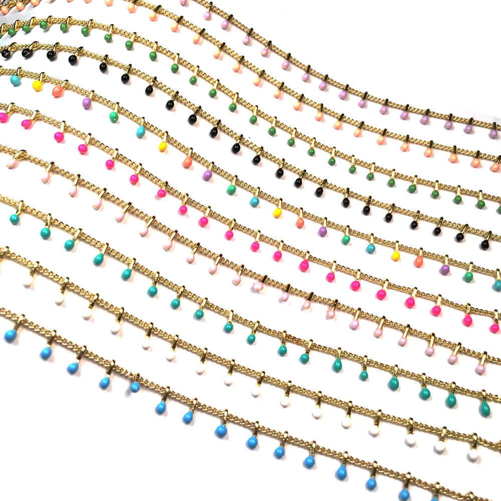 1 metr ręcznie robione złoto drut owinięty różaniec łańcuch kamień łańcuchy z koralików na naszyjniki bransoletki Anklet Making DIY ocena biżuterii