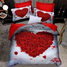 3D Rose Heart Bedding Set Nordic Duvet Cover 150x200 220x240 King Size Quilt Cover Modern Cat Wolf Print Pillowcase No Bed Sheet