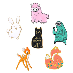 Funny Animal Enamel Pin Cute Rabbit Fox Sloth Deer Cat Sheep Brooches Pins for kids Creative Clothes Backpack Metal Badges