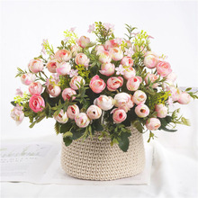 5 Forks 13 Flowers Artificial Camellia Buds Small Bouquet Wedding Home Table Decoration Flower Grass