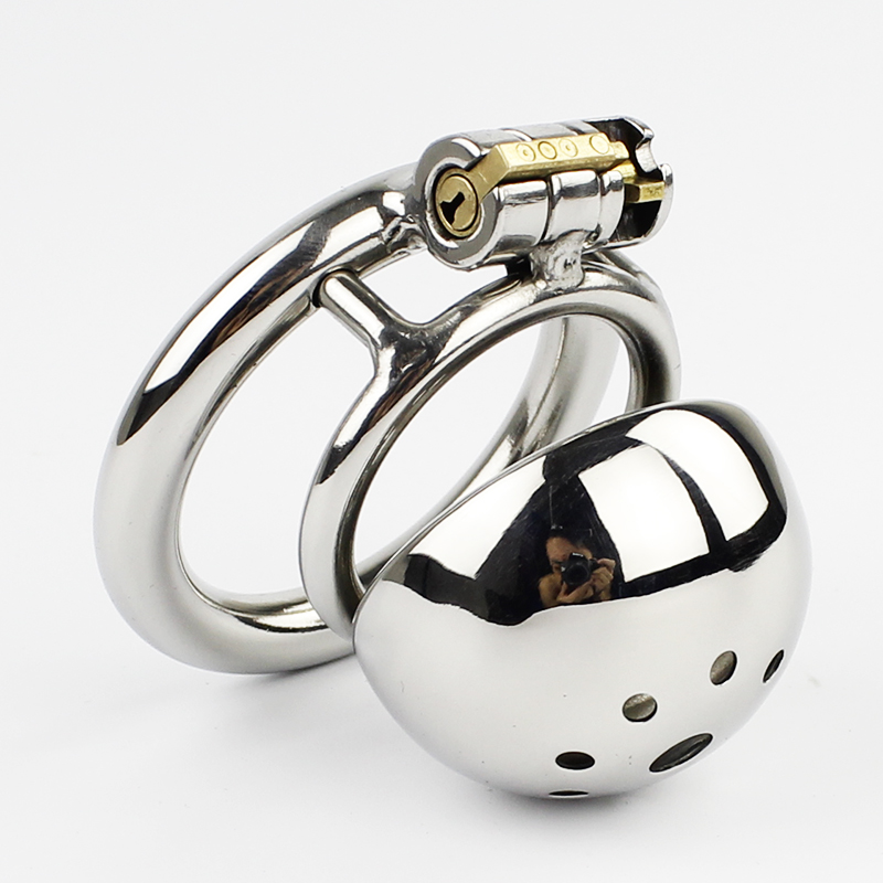 Small Male Chastity Device Stainless Steel Chastity Cage Penis Lock <font><b>Cock</b></font> <font><b>Ring</b></font> <font><b>Sex</b></font> <font><b>Toys</b></font> Men Chastity Belt image