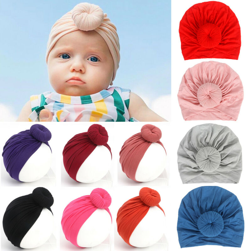Newborn Boys Girls Baby Soft Cotton Hat Turban Knotted Cap Beanie Bow-knot Hat G